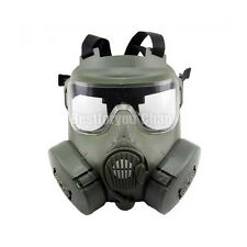 Tactical Airsoft  Gas Mask Paintball Full Face Protection Dual FanM50 OD Green