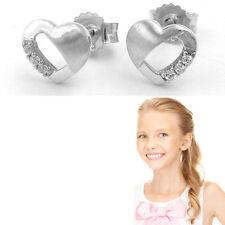 Mädchen Damen Herz Ohrstecker Zirkonia Kinder Herzchen Ohrringe Echt Silber 925