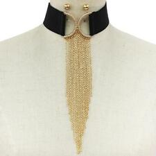 "collar necklace 9.50"" fringe tassel 13"" gold crystal drop chain choker"