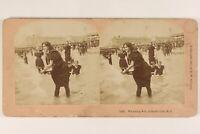 USA New Jersey Atlantic City Bagno Foto Stereo Vintage Albumina 1897