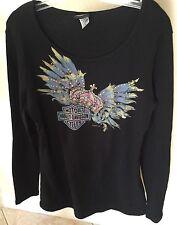 NEW WOWANS SIZE X-LARGE HARLEY DAVIDSON  black LAS VEGAS Long Sleeve Shirt