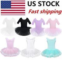 US Kids Girls Ballet Dance Leotard Gymnastics Tutu Skirt Dress Ballerina Costume