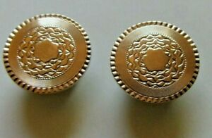 Pair of Antique 10K Yellow Gold Buttons Cufflinks Engraved Wreath Foliage Design