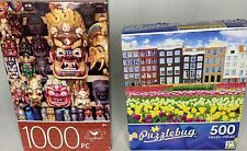 "2 Puzzles Cardinal 100 Pc ""Colorful Wooden Masks"" And Puzzlebug Buildings Tulips"