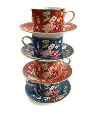 House of Global Art Asian Flat Tea Coffee Cups and Saucers - Set of Four - Japan
