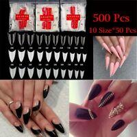 Manicure Tips Pointy Shape Nail Art Patch Almond Stiletto Acrylic False Nails
