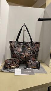 BRAHMIN ALL DAY TOTE BLACK Floral BOHEMIA + DEBI WALLET  &  Cosmetic Bag NWT!