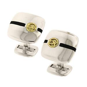 David Yurman 925 Sterling Silver 18K Yellow Gold Black Enamel DY Logo Cufflinks