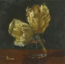 """Tulips from the Arb, 6""""x6"""", Skeet Sirmons, Original Oil Painting"""