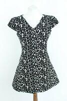 ZARA BNWT RRP 49 black white loose short sleeve woman dress size S