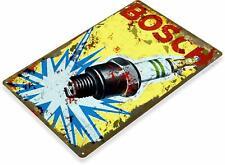 Bosch Spark Plugs Gas Oil Pump Auto Station Garage Mechanics Shop Metal Sign