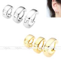 2pc Stainless Steel Hoop Ear Helix Cartilage Hoop Huggies Stud Earrings Piercing