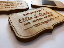 Personalised Wood Save the Date Vintage Plaque Magnet Rustic Wedding Invitation