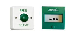Green Single Pole Break Glass & Press to Exit Button - White Backbox