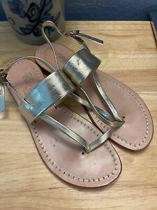 Excellent Emanuela Caruso Sandali Ravello Gold Leather Thong Sandals 36
