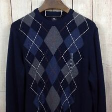Dockers Large Men's Sweater Pull Over Argyle Golf NWT Casual Navy Blue Gray