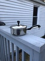 Vintage Farberware 1 1/2 Qt Aluminum Clad Stainless Sauce Pan Pot with Lid USA