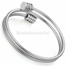 Men Women Stainless Steel Silver Tone Twisted Cable Adjustable Bangle Bracelet
