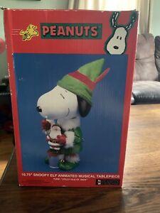 "NEW Snoopy Peanuts Kurt Adler Christmas 10.75"" Animated Musical Table Piece Elf"