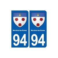 94 Mandres-les-Roses blason autocollant plaque stickers ville droits