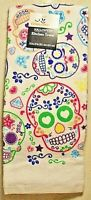 """Celebrate Halloween White DAY OF THE DEAD Skull Hand Dish Kitchen Towel 15""""x25"""""""