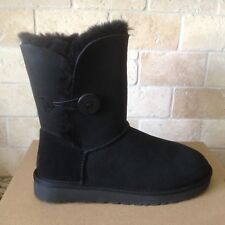 UGG Classic Short Bailey Button II Water-resistant Black Boots Size US 10 Womens