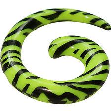 Neon Yellow Green Zebra Spiral Gauge Taper Ear Lobe Stretch Expand Body Jewelry