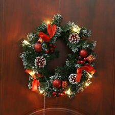 Christmas Pine Wreath Spruce LED Light String Front Door Hanging Decoration