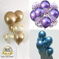 "6-50 pcs 12"" Metallic Pearl Chrome Latex Ballons for Wedding Birthday Party UK"