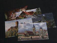 FOUR ORIGINAL THOMAS SIGNED TUCK POSTCARDS - EISENACH - OILETTE No. 7082.