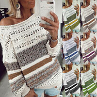 Women Fashion Stripe Knitted Sweater O-Neck Hollow Out Long Sleeve Top Pullover