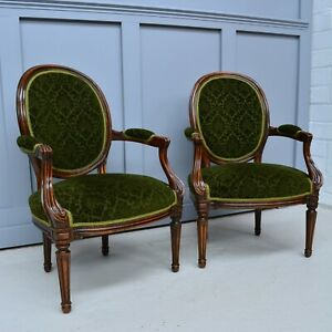 Pair of Antique Victorian French Armchairs / Parlour Chairs Velour Damask
