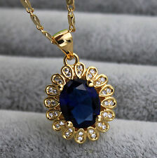 18K Yellow Gold Filled- 8*10MM Oval Navy Blue Topaz Flower Lady Pendant Necklace