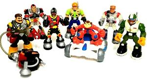 1999, 2000, 2001 Fisher Price Rescue Heroes - 7 Action Figures & Satellite Car
