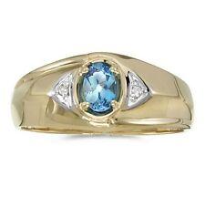 Mens Genuine Blue Topaz and Diamond Ring 10K Yellow Gold