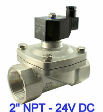 "Stainless Electric Solenoid Water Valve Zero Differential 2"" Inch 24V DC Viton"
