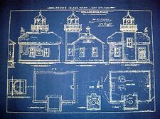 Vintage Lighthouse Blueprint at Burrows Island WA 1906 18x22  (233)