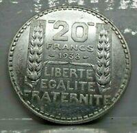 KM# 879 - 20 francs Turin 1938 - SUP - Argent - monnaie France - N7296