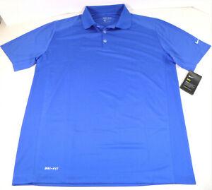 Nike Mens Dri-Fit Victory Golf Polo Shirt Ribbed Collar Royal Blue Large NWT