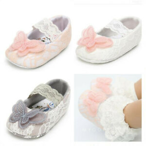 Newborn Baby Girl Crib Shoes Infant Butterfly Slip on Soft Sole Princess Shoes