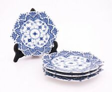 4 Plates #1144 - Blue Fluted - Royal Copenhagen - Double Lace