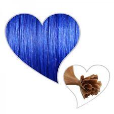 25 Strähnen #blau 60 cm, Premium-Remy-Echthaar, blaue Extensions, blue hair 60cm