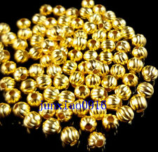 100pcs Gold Plated Round Pumpkin LANTERN Spacer Beads Jewelry Making 4mm G-NGZ