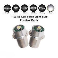 2x P13.5S TORCH FLASHLIGHT MAGLITE CREE LED BULB 3-14.5V 6 DC - POSITIVE EARTH