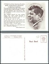"Vintage Postcard - President John F. Kennedy - Tribute ""A Breath Of Spring"" L21"