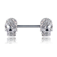 1PC Sexy Crystal Skull Nipple Rings Bar Barbell Industrial Cartilage Pierc Sqi4