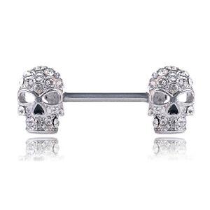 1PC Sexy Crystal Skull Nipple Rings Bar Barbell Industrial Cartilage Pier.l8