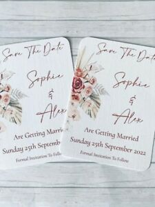 Personalised Boho Rustic Beige Floral Wedding Save the Date Cards Pks of 10