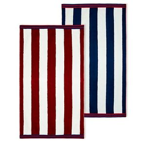 "Balance Home 2 Pack Cabana Stripe Over sized Reversible Beach Towel Set 40""X70"""