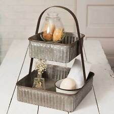 Galvanized Metal Two Tier Tray-Basket-Bin Bath-Kitchen-Storage Farmhouse